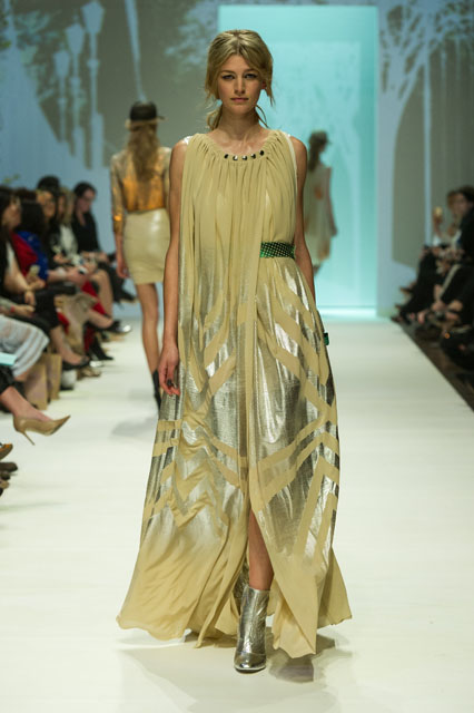 12. ALEXI FREEMAN FOIL MESH GATHER GOWN