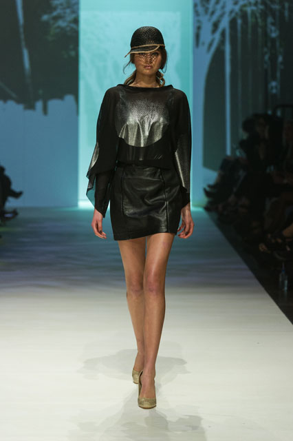 2. ALEXI FREEMAN CIRCLE CROP TOP & LEATHER PANEL MINI SKIRT