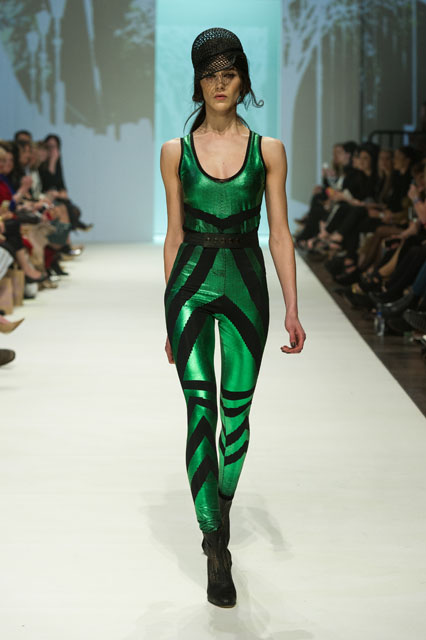 7. ALEXI FREEMAN FLAPPER DOT FOIL BODYSUIT & LEGGINGS & LEATHER PERFORATED BELT
