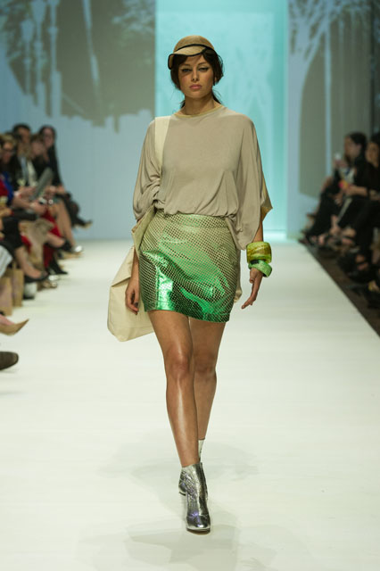 8. ALEXI FREEMAN CIRCLE TOP & FOIL SPHERE LEATHER MINI SKIRT
